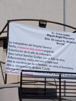 Protestan trabajadores de Hospital General en Saltillo.