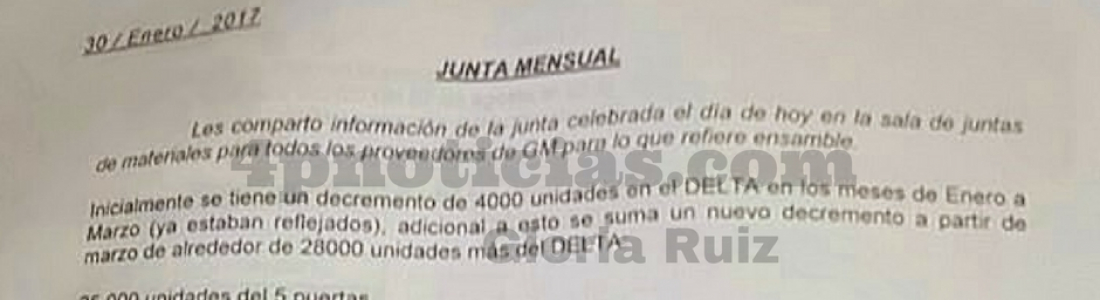 GM DEJARÁ DE PRODUCIR 32 MIL UNIDADES EN COAHUILA ESTE AÑO