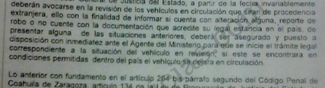 """Ordena Procurador operativos contra autos """"Chocolate"""" desde el 7 de marzo."""