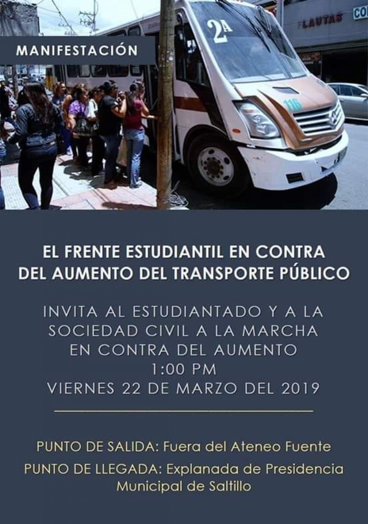 Protestarán por aumento de transporte