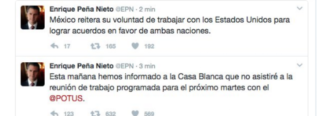Anuncia Peña Nieto cancelación de reunión con Donald Trump