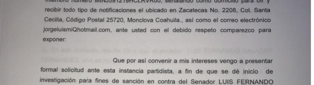 Piden expulsión del PAN para el senador Luis Fernando Salazar, por violación a estatutos y reglamentos del partido.