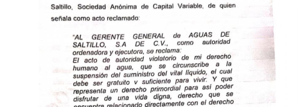 Ordena Juez Federal a AGSAL reconectar servicio de agua potable a familia: Reyes Flores Hurtado