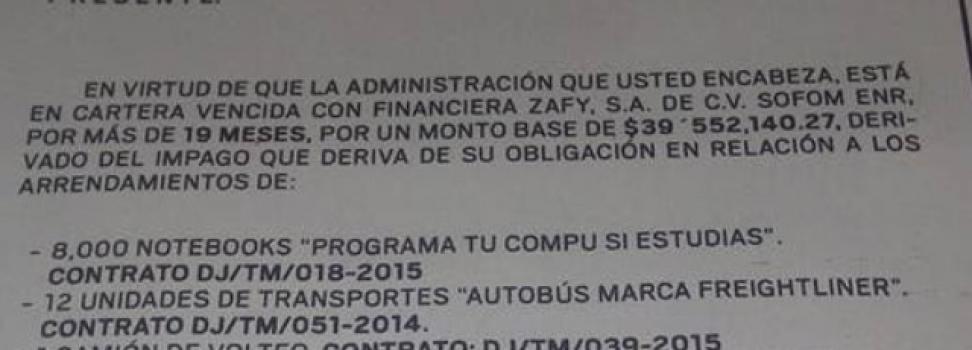 Incumple Ramos Arizpe con deudas