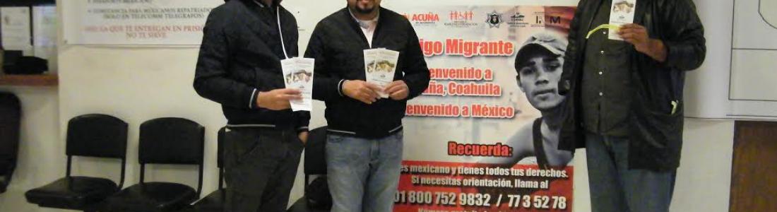 RECIBEN A MEXICANOS REPATRIADOS CON ALIMENTOS, ROPA ABRIGADORA Y TRÍPTICOS INFORMATIVOS SOBRE SUS DERECHOS.