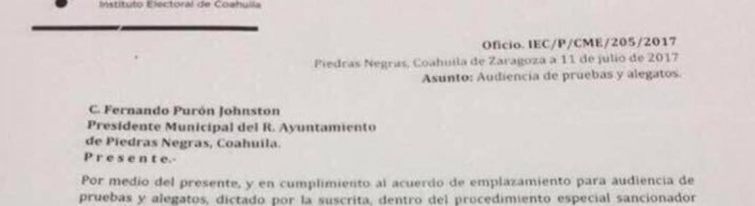 Cita IEC a Fernando Purón Johnson por supuesta vulneración a leyes de Procesos Electorales